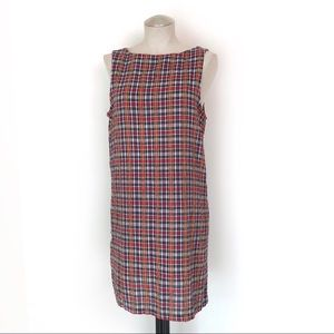 90s Vintage Paris Blues Plaid Shift Dress Size 10